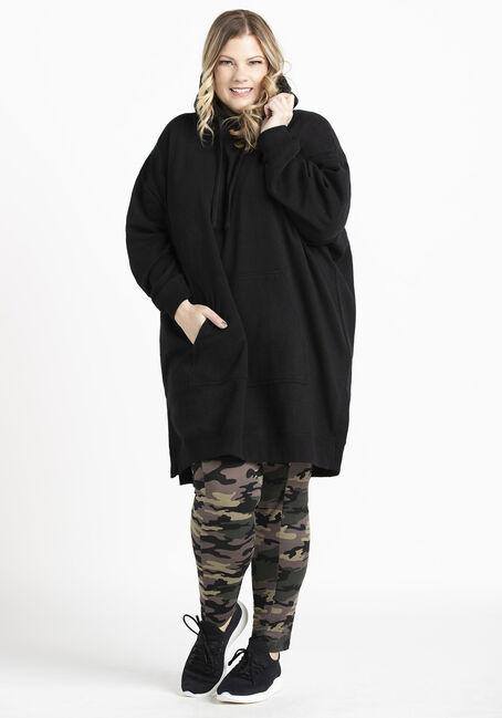 Women's Tunic Hoodie, BLACK, hi-res