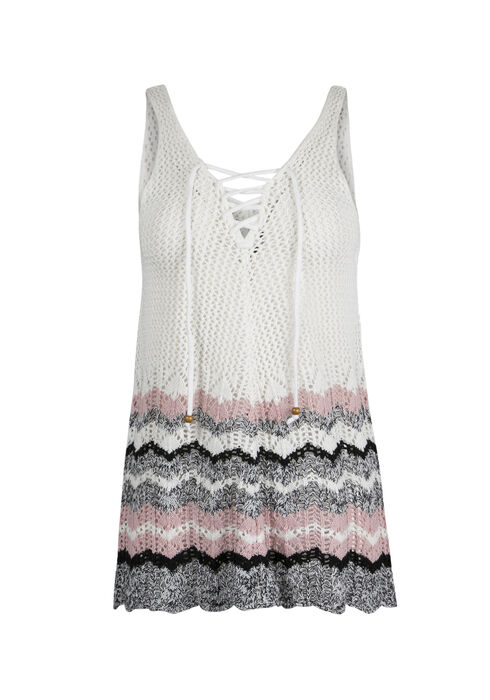 Ladies' Lace Up Sweater Tank, WHITE/ ROSE WATER, hi-res