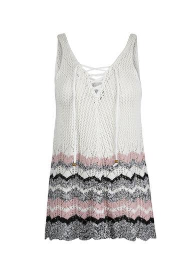 Ladies' Lace Up Sweater Tank, WHITE/ ROSE WATER, hi-res