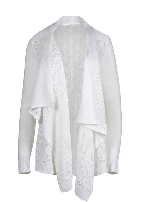 Ladies' Pointelle Trim Cardigan
