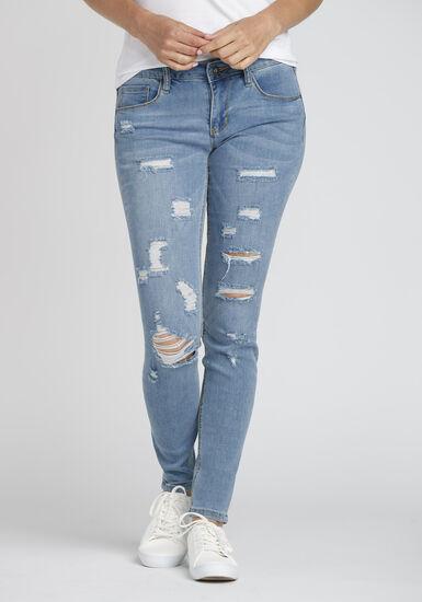 Women's Destroyed Skinny Jean, LIGHT WASH, hi-res