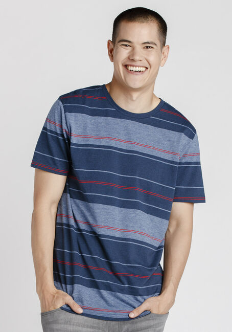 Men's Everyday Striped Crew Neck Tee, NAVY, hi-res
