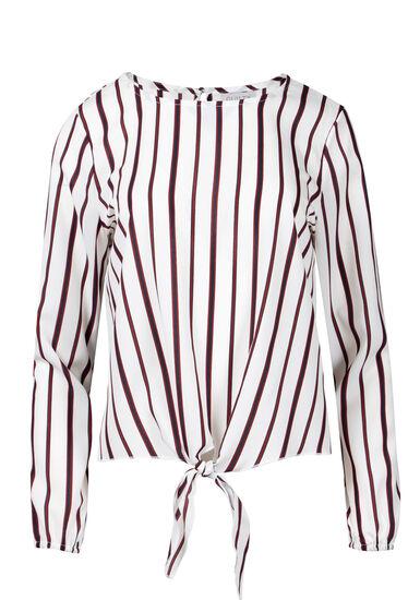 Women's Stripe Tie Blouse, IVORY/BURGUNDY, hi-res