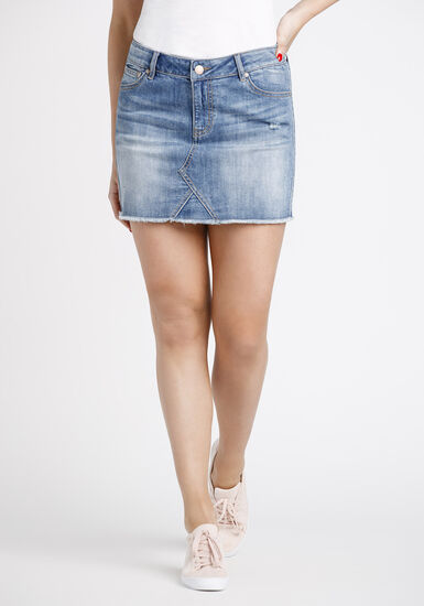 Women's Patchwork Distressed Denim Skirt, MEDIUM WASH, hi-res