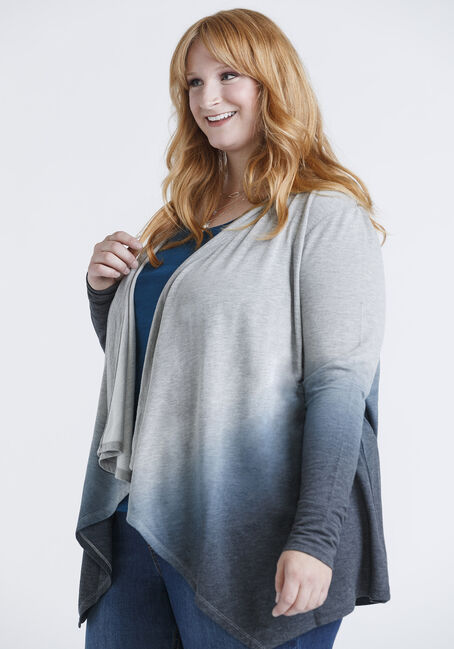 Women's Ombre Print Open Cardigan, HEATHER GREY, hi-res