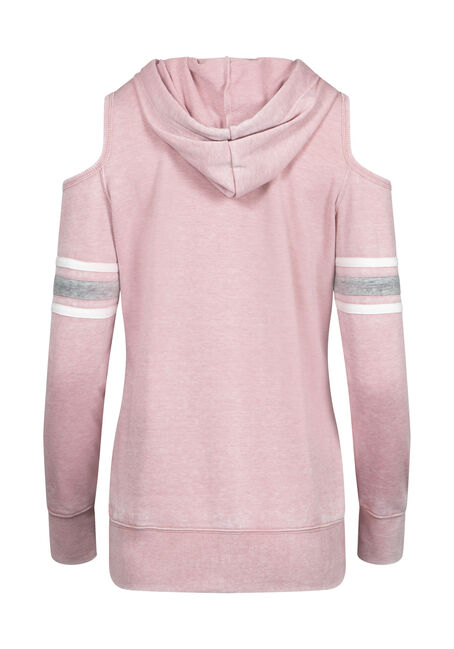 Women's Cold Shoulder Football Hoodie, DUSTY PINK, hi-res
