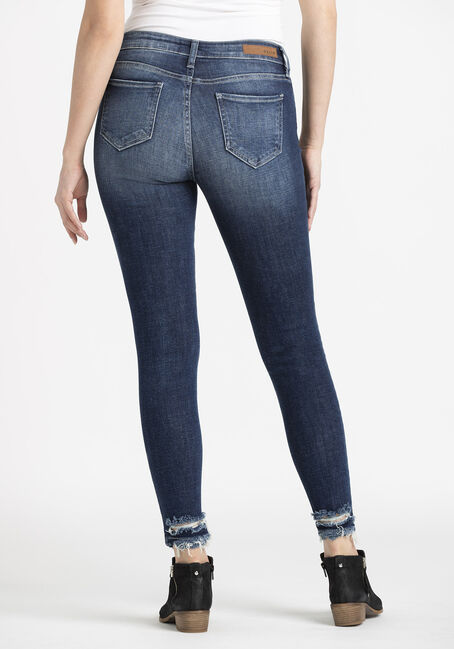 Women's Heavy Destroyed Ankle Skinny Jeans, DARK WASH, hi-res