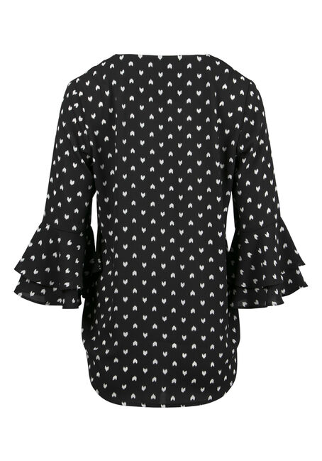 Ladies' Heart Print Blouse, BLK/WHT, hi-res