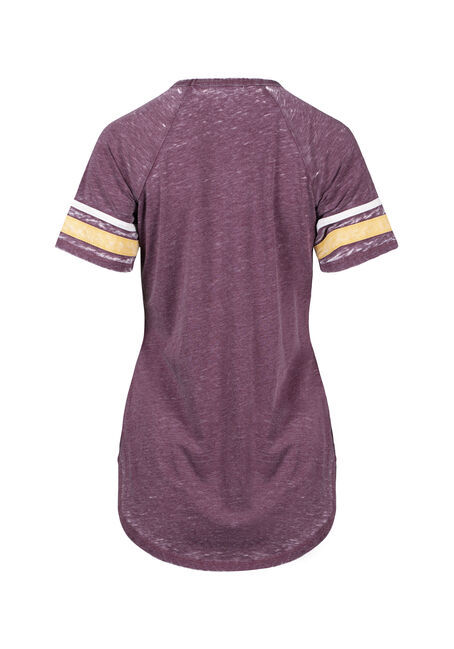 Women's Burnout  Keyhole Football Tee, BURGUNDY, hi-res