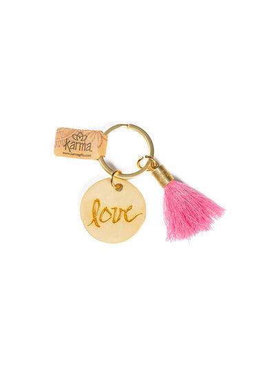 Round Tassel Keychain, BRIGHT PINK, hi-res
