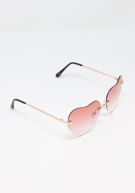 Women's Heart Frame Aviator Sunglasses, PEACH, hi-res