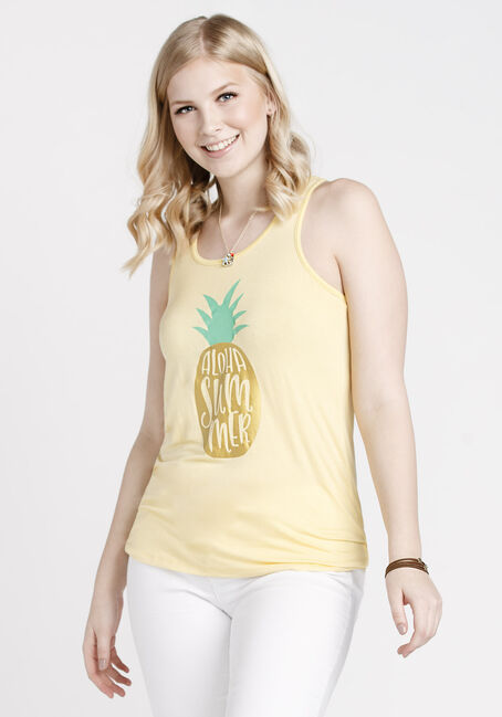 Women's Aloha Summer Speckle Tank, LEMON, hi-res