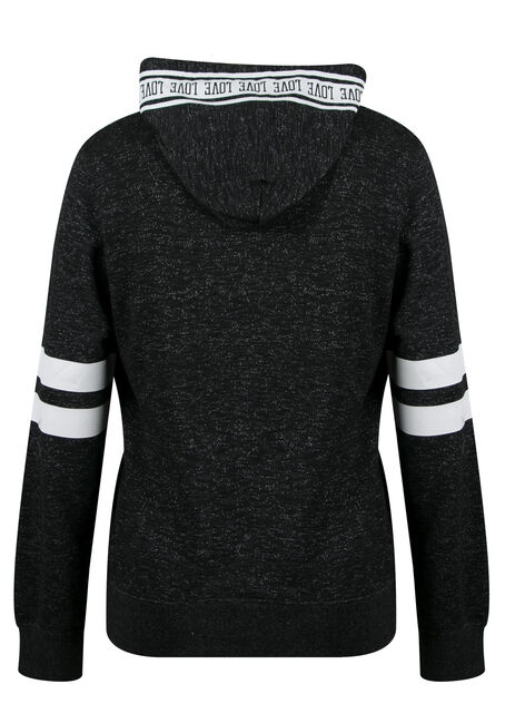 Ladies' Plus Size Love Football Hoodie, MELANGE BLACK, hi-res