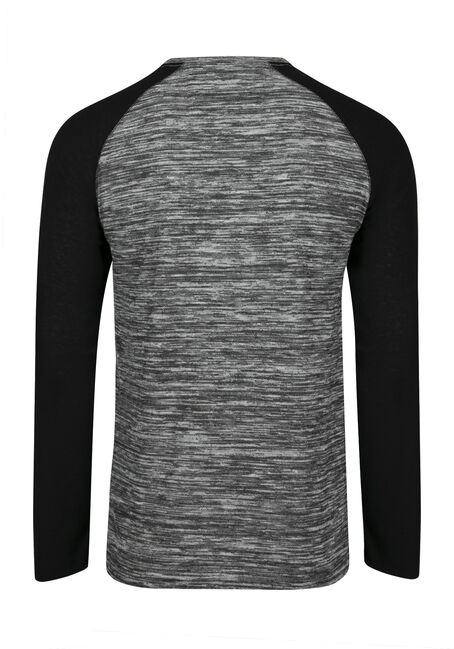 Men's Baseball Henley Tee, GREY, hi-res