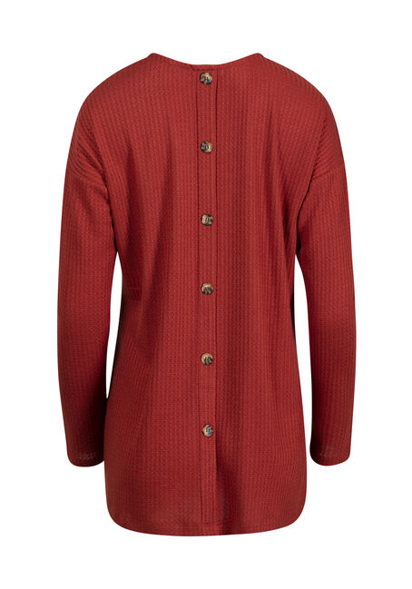 Women's Waffle Cardigan, BURNT ORANGE, hi-res