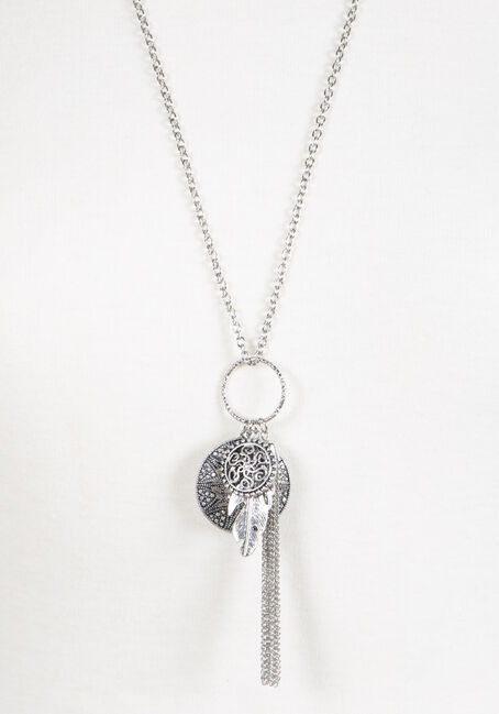 Women's Tassel Charm Necklace, SILVER OX, hi-res