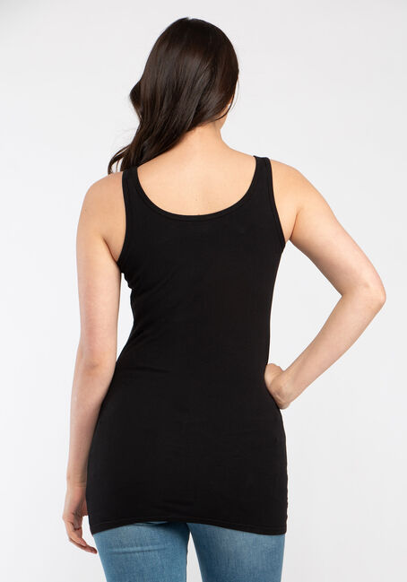 Women's Double Scoop Tunic Tank, BLACK, hi-res