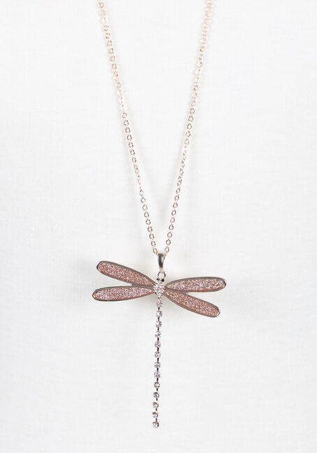 Ladies' Dragonfly Necklace, ROSE GOLD, hi-res