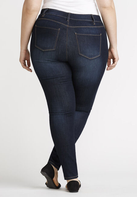 Women's Plus Skinny Jeans, DARK WASH, hi-res