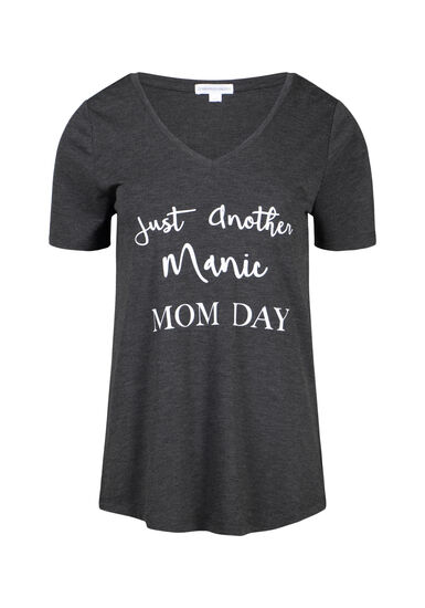 Women's Manic Momday V Neck Tee, CHARCOAL, hi-res