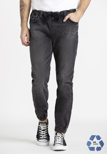 Men's Washed Black Denim Jogger