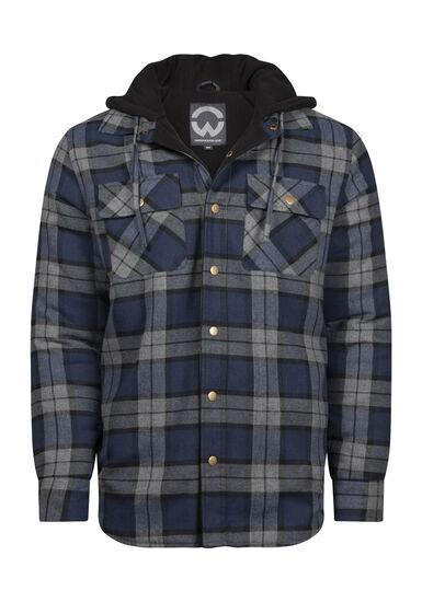 Men's Plaid Flannel Shirt Jacket, NAVY, hi-res