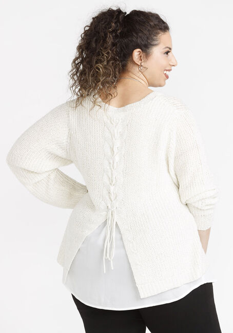 Women's Chiffon Underlay Shimmer Sweater, NATURAL, hi-res