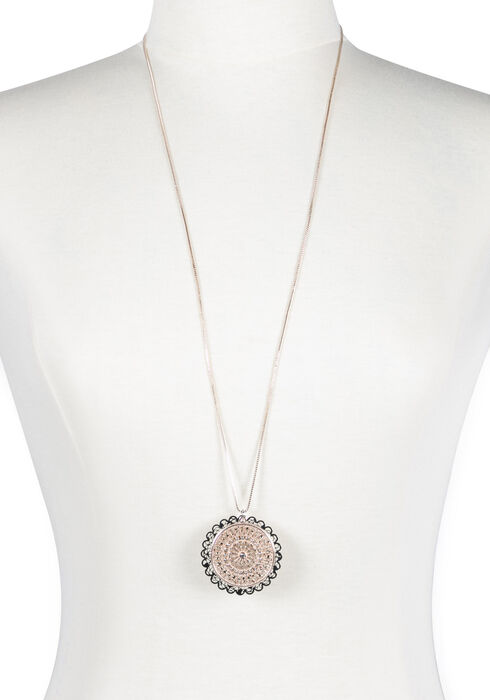 Ladies' Filigree Discs Necklace, MIXED METALS, hi-res