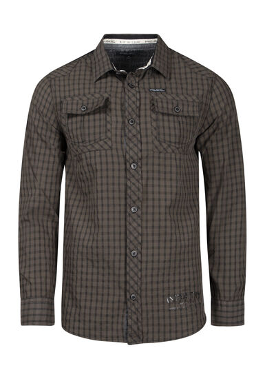 Men's Mini Check Shirt, OLIVE, hi-res