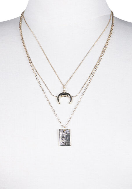 Women's Layered Necklace, GOLD, hi-res