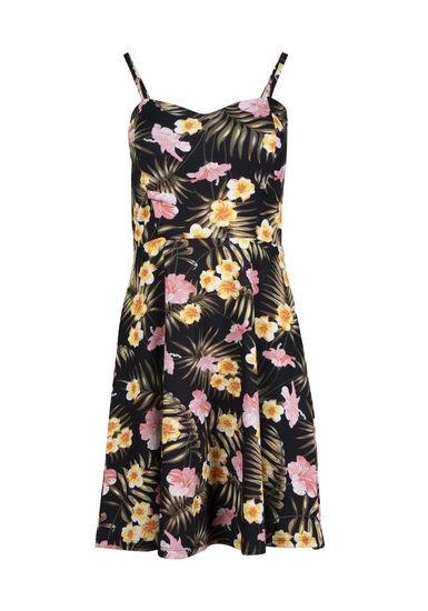 Women's Tropical Flower Fit & Flare Dress, BLACK, hi-res
