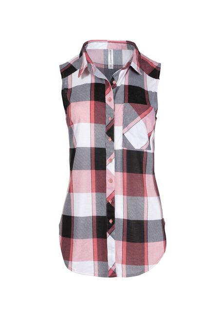 Women's Sleeveless Knit Plaid Shirt
