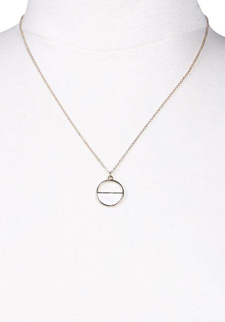 Women's Circle Necklace, GOLD, hi-res