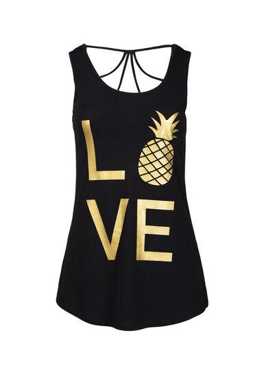 Women's Love Pineapple Cage Back Tank, BLACK, hi-res