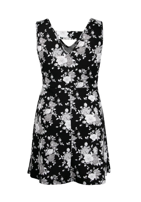 Women's Plus Size Floral Fit & Flare Dress, BLK/WHT, hi-res