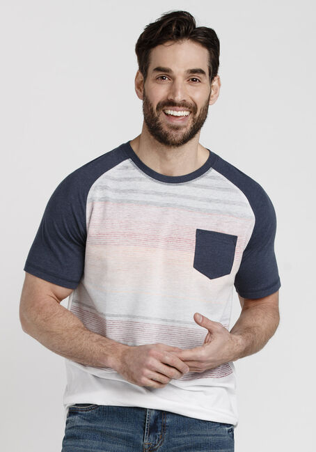 Men's Everyday Striped Pocket Tee, NAVY, hi-res