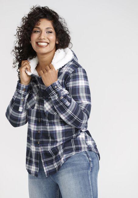 Women's Navy Knit Plaid Hoodie