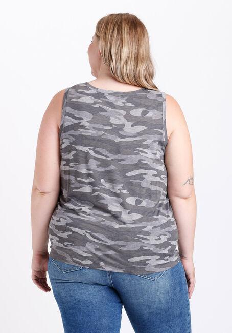 Women's Camo Tie Front Tank, CHARCOAL, hi-res