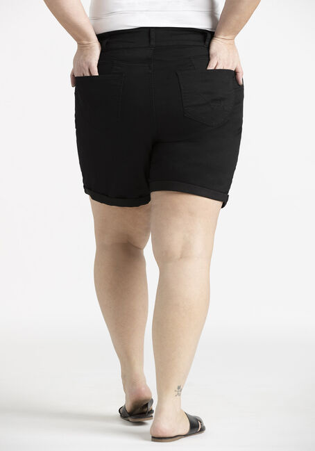 Women's Plus 2 Button Black Cuffed Midi Short, BLACK, hi-res