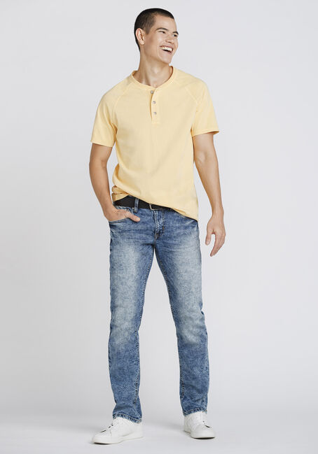 Men's Vintage Washed Henley Tee, YOLK YELLOW, hi-res