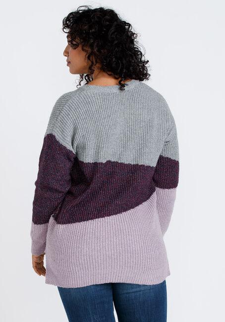 Women's Colour Block Sweater, DK PLUM, hi-res