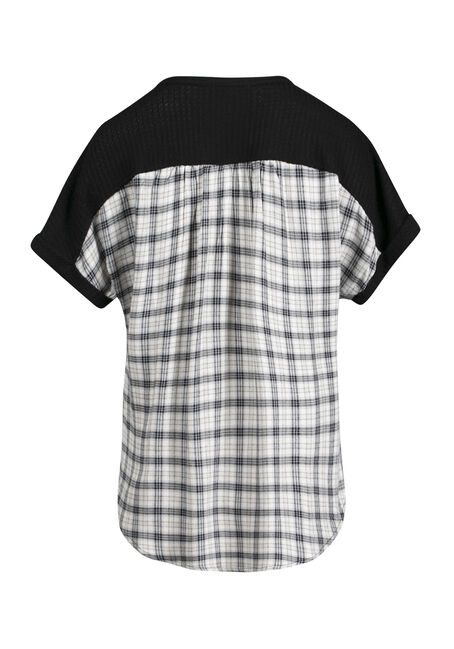 Women's Plaid Back Waffle Button Up Top, BLACK, hi-res