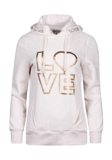 Women's Love Foil Print Hoodie, HEATHER PINK, hi-res