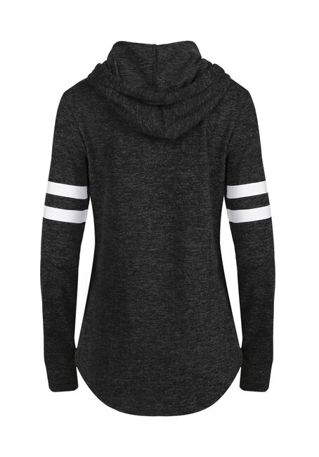 Women's Football Tunic Hoodie, CHARCOAL, hi-res
