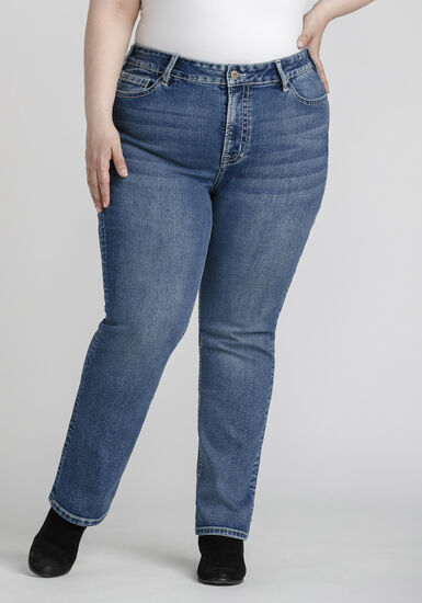 Women's Plus Size High Rise Straight Jeans, MEDIUM WASH, hi-res