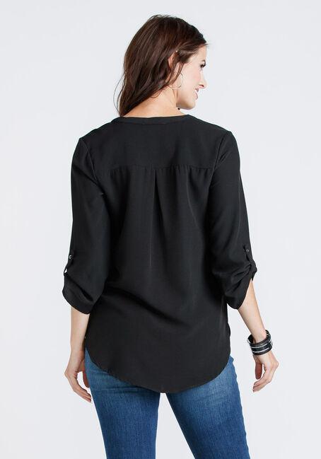 Women's Zip Pocket Blouse, BLACK, hi-res