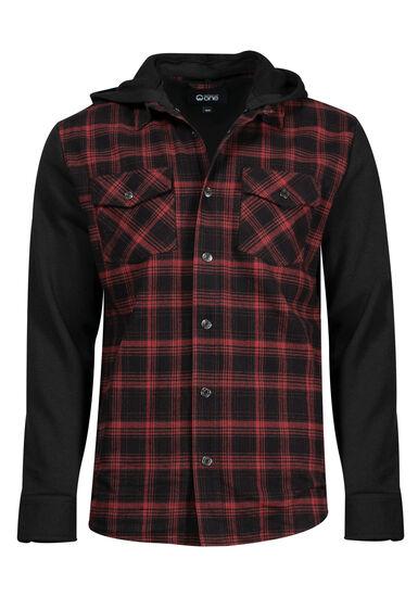 Men's Knit Sleeve Shirt Jacket, RED, hi-res