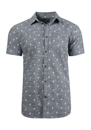 Men's Flamingo Chambray Shirt, CHARCOAL, hi-res