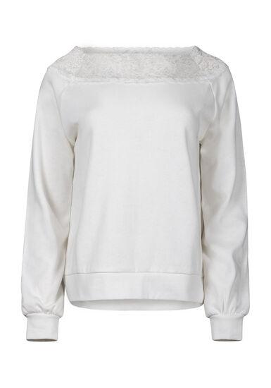 Women's Lace Trim Fleece, IVORY, hi-res