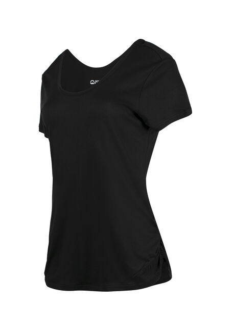 Ladies' Scoop Neck Ruched Side Tee, BLACK, hi-res